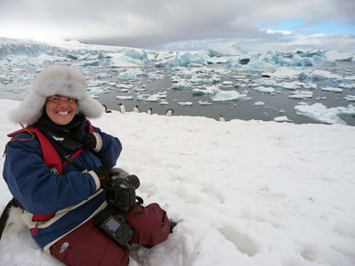 Camille Seaman in Cuverville, Antarctic Peninsula, December 2010 (photo © Camille Seaman)