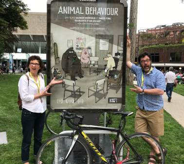 "Snowden and Fine at the 2018 Annecy International Animated Film Festival premiering ""Animal Behaviour"" (photo courtesy of the National Film Board of Canada)"