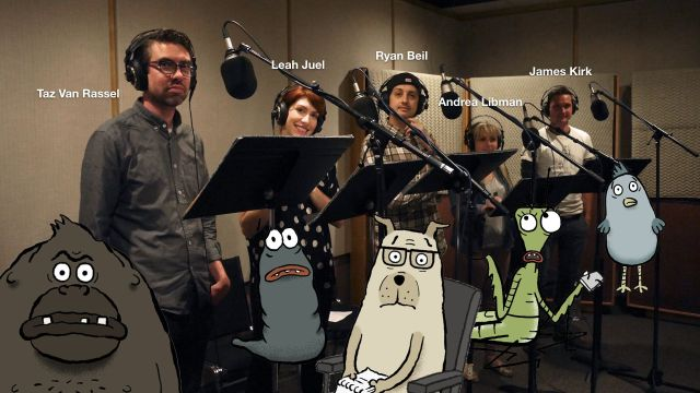 "Actors Taz Van Rassel, Leah Juel, Ryan Beil, Andrea Libman and James Kirk in the sound studio for ""Animal Behaviour"" (photo © David Fine)"