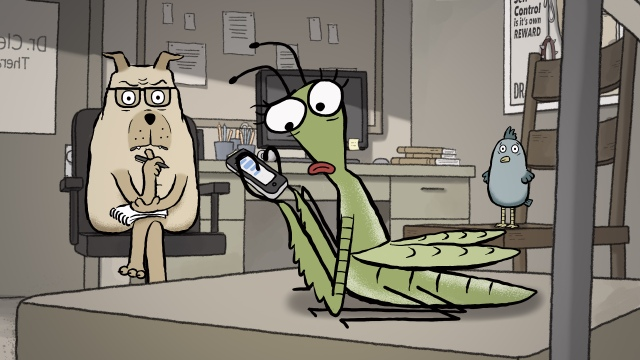 "Cheryl the praying mantis showing signs of ADHD during her group therapy session in Alison Snowden and David Fine's ""Animal Behaviour"" (still courtesy of the National Film Board of Canada)"