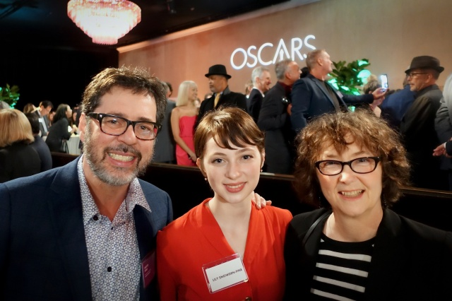 David Fine and Alison Snowden with their daughter, Lily Snowden-Fine, at the Oscar Nominees Luncheon on Feb. 5, 2019 at the Beverly Hilton (photo by Michael Fukushima, courtesy of David Fine)
