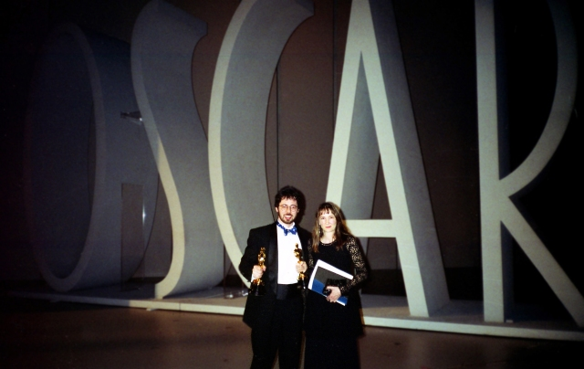 "David Fine and Alison Snowden at the 1994 Academy Awards, where they won an Oscar for their short animated film ""Bob's Birthday"" (photo by Clare Kitson, courtesy of David Fine)"