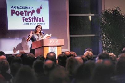 Beasley reading at the 2016 Massachusetts Poetry Festival (photo courtesy of Sandra Beasley)