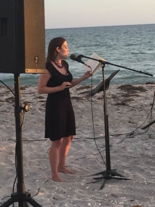 Beasley reading at Hermitage Artist Retreat in Florida in 2016 (photo courtesy of Sandra Beasley)
