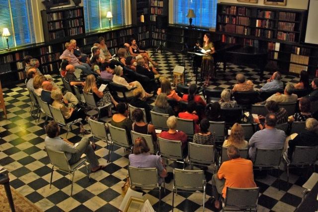 Beasley in 2011 reading for the Poetry Society of South Carolina (photo courtesy of Sandra Beasley)