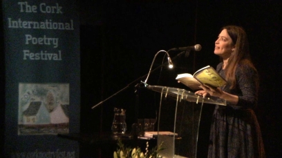 "Beasley reading from ""Theories of Falling"" at the 2019 Cork International Poetry Festival (photo courtesy of the Munster Literature Centre)"