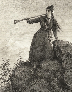 19th century woodcut by by Emma Edwall of a Nordic Sámi woman playing Lur horn (public domain photo)