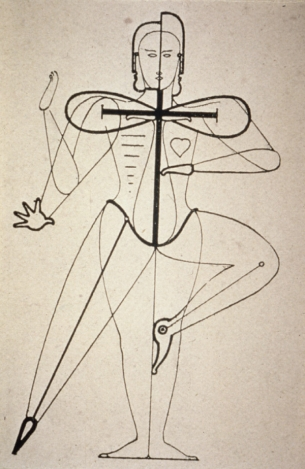 1921 sketch of figural movement for dance by Bauhaus artist Oskar Schlemmer (public domain photo)