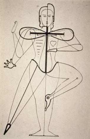1921 sketch of figural movement for dance by Bauhaus artist Oskar Schlemmer (public domain photo)