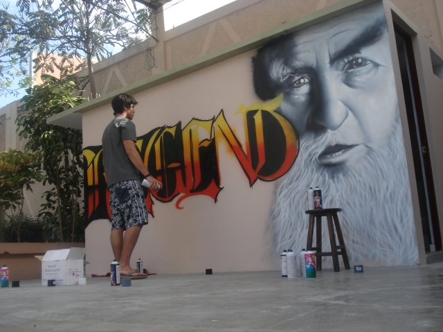 Nasca Uno painting a commissioned piece in 2008 at the Regents Hotel in Trujillo, Peru (photo courtesy of Nasca Uno)