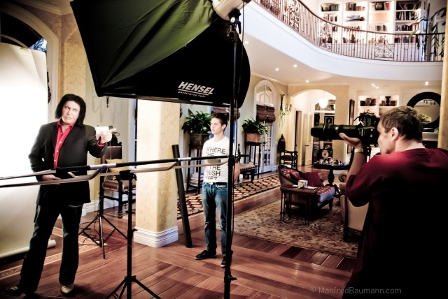 Manfred Baumann on set with rocker Gene Simmons at his home (photo courtesy of Manfred Baumann)