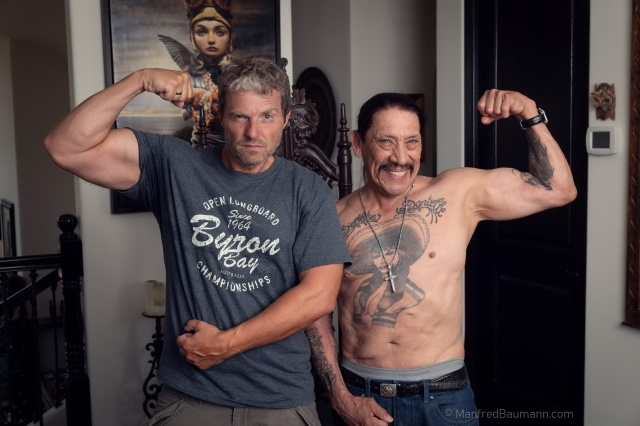 Manfred Baumann posing with actor Danny Trejo (photo by Manfred Baumann)