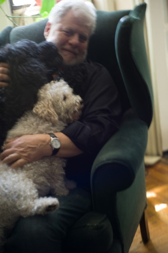Mark Kurlansky with his dogs Tallulah and Begonia (photo © Sylvia Plachy)
