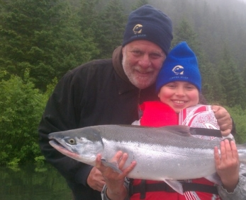Kurlansky fly fishing for sockeye on the Eyak River, Alaska with his daughter, Talia (photo courtesy of Mark Kurlansky)