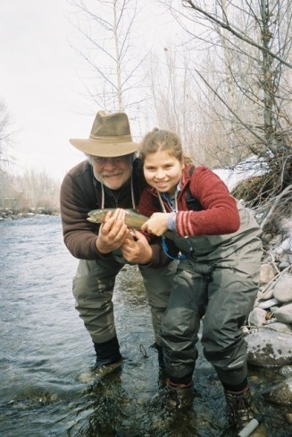 Kurlansky fishing for trout in Big Wood River, Idaho with his daughter, Talia (photo courtesy of Mark Kurlansky)