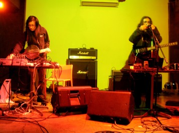 Japanese noise artist Merzbow (L) and Alan Courtis collaborating in 2014 (photo courtesy of Alan Courtis)