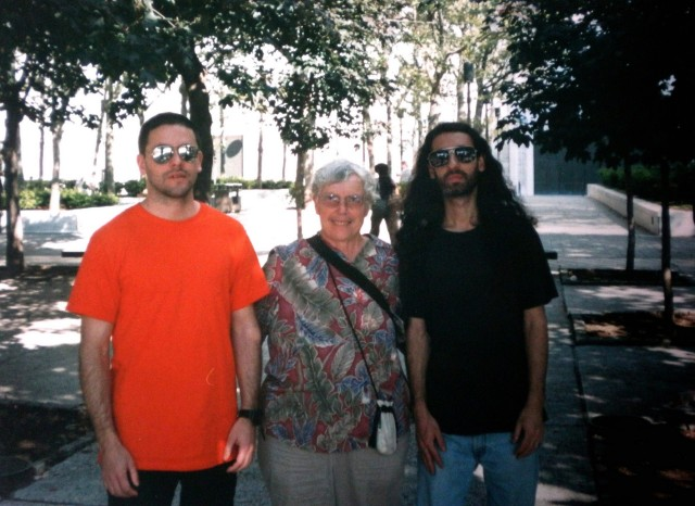 (L to R) Roberto Conlazo, Pauline Oliveros and Alan Courtis in 2000 during rehearsals for Oliveros' Lunar Opera at Lincoln Centre (photo courtesy of Alan Courtis)