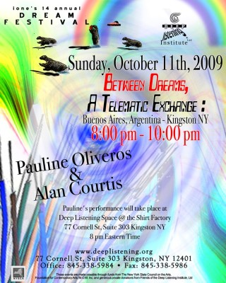 Poster for the 2009 Telematic Concert by Pauline Oliveros and Alan Courtis (photo courtesy of Alan Courtis)