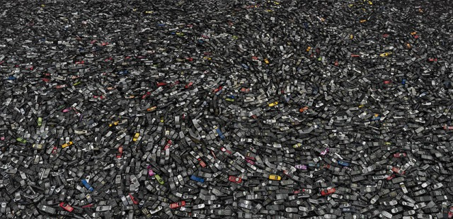 """Cell phones #2"" (Atlanta, 2005) from Chris Jordan's series ""Intolerable Beauty,"" depicting thousands of discarded cellphones, (photo courtesy of Chris Jordan)"