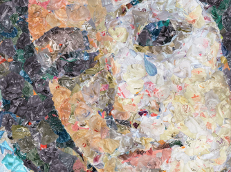 "A detail from Chris Jordan's ""Venus,"" showing a closer view of the plastic bags that make up the photograph"