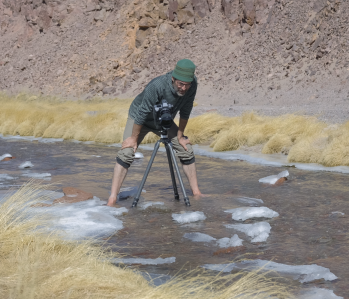 Chris Jordan working on his latest project, a film on lithium mining, in Chile (photo courtesy of Chris Jordan)